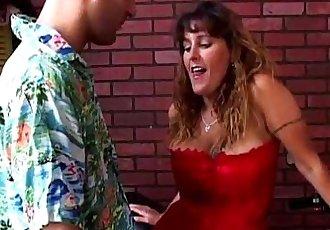 Kinky MILF in stockings enjoys a hard shafting