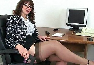 UK milf Red will assist you at the office todayHD