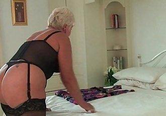 Chubby granny in black stockings masturbates - 5 min HD