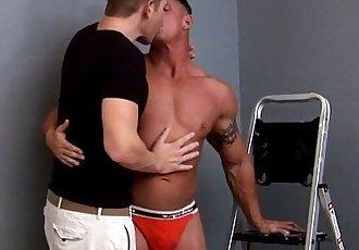Muscular gay hunk rimmed closeup by partnerHD