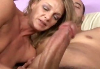 Blonde cougar mom tugging his hard cock - 6 min