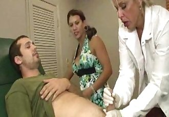 Busty milf dr tugs cock in kinky ffm action - 7 min