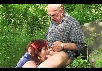 Granny and Grandpa fuck outdoor - 6 min