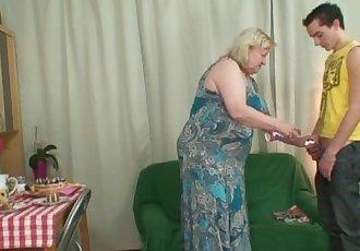 Huge old bag gets screwed by slim son-in-law