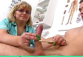 Busty fat mom Anna wears uniform and wanking a boy