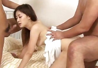 Misaki gets two men to fuck her shaved holes - 10 min