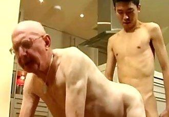 Skinny Asian Twink and White Grandpa