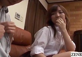 Subtitled CFNM Japanese schoolgirl with older boyfriend - 3 min