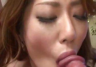 Reina Nishio perky tits beauty dealing two cocks on cam - 12 min