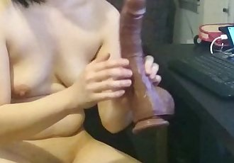 Jade Chan and the BBC dildo - 5 min
