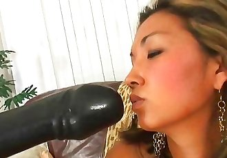 Petite Thai amateur gets gaped wide from a brutal dildo insertion