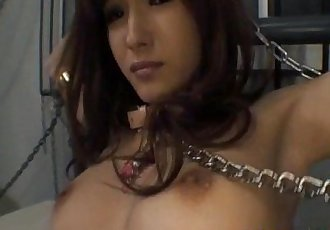 Mei Haruka in chains and stockings is fucked in mouth and twat - 10 min