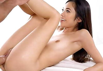 PASSION-HD Tight Asian Pussy Swallows Big Dick