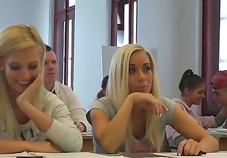 College students fuck their professor in class in front of colleagues