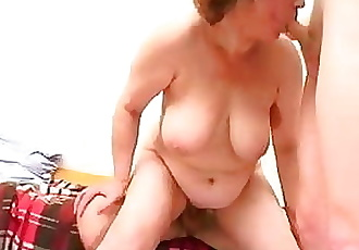 Mom with flabby body, saggy boobs & 3 guys