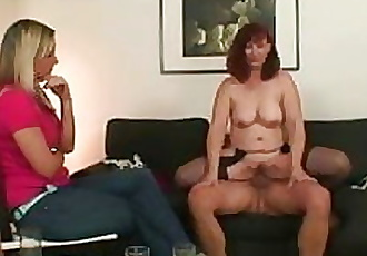 Wife watches as he fucks her old mom