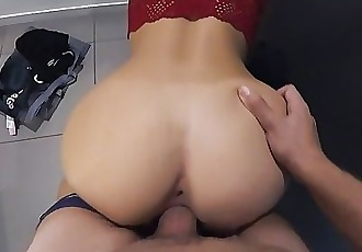 Risky PUBLIC SEX in changing room - morningpleasure