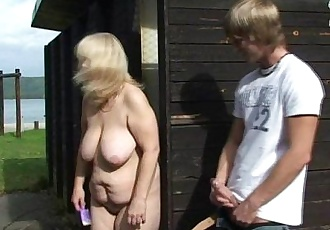Big titted old blonde rides his horny cock - 6 min