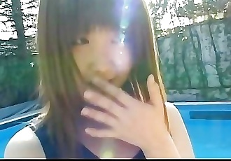 Teen cutie Momoko Tabata in a swiming suit outside her perky small tits har