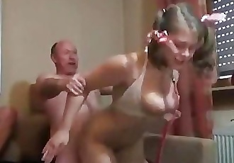 Old Man Gangbangs German Chick