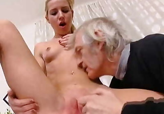 Nelya gets her breasts licked by older man - 5 min
