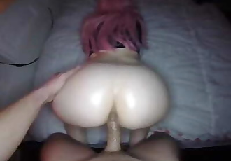 Teen-Bunny Sucks Cock and Oils Big-Butt for Insane Doggystyle.