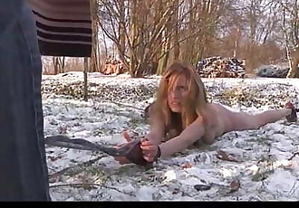 Bondage painful ass punishment in the snow for big boobs slave - 6 min HD
