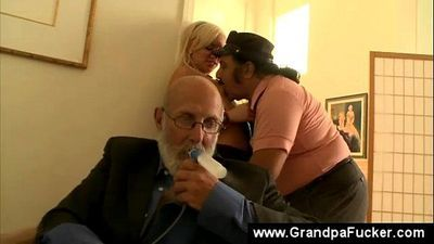 Teen sucks a disabled seniors huge dick - 6 min