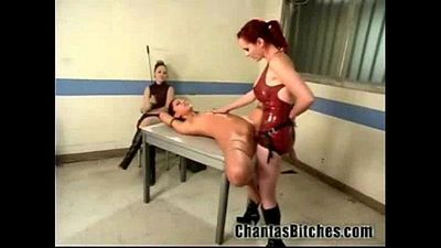 2 Mistresses Fuck a Slave Bitch! - 2 min