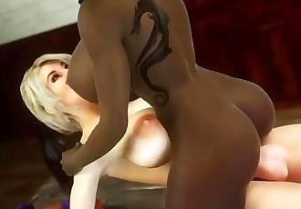 Ebony girl riding on futa, futa on female, 3d videogame