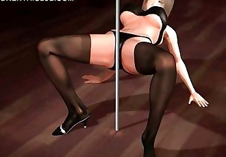Anime dancer rubbing cunt against the strip pole - 5 min