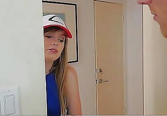 FamilyStrokes- Step-Sis Blows bro for Pokemon 10 min HD