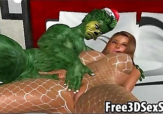 Hot 3D cartoon babe getting fucked by a green monster - 7 min