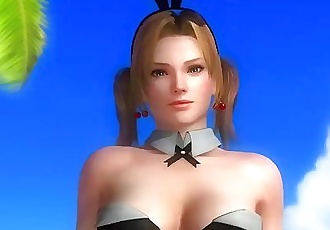 Dead or alive 5 Tina hot blonde in sexy bunny costume exposes ass & breast!