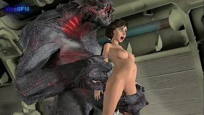 elizabeth fucked by a monster - 51 sec