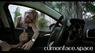Skinny blonde plays with my balls while I flash dick - cumonface.space - 2 min