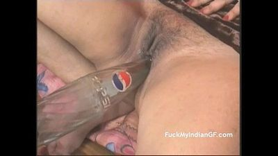 Indian GF Fucking Masturbating With Pepsi Bottle Getting Orgasm - 3 min