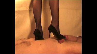 British Indian Desi mistress Sophie Patel trampling cock n giving handjob slave - 4 min