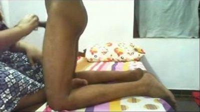 Desi mature Bhabhi playfully playing with young devars hard dick - 4 min