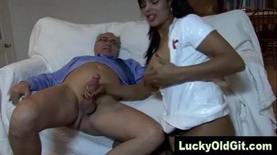 old man fucks Indian girl in sexy nurse outfit - 5 min