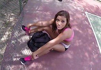 Teen sucks dick on court
