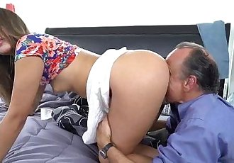 Liza Rowe spreads her pussy for an old mans dick