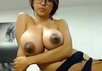 Hot Nerdy Girl with Huge Breasts and Dark Nipples