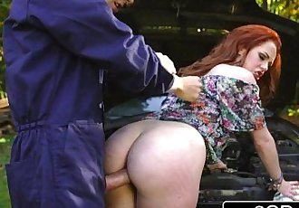 Redhead British Teen Slut Ella Hughes Takes Mechanics Big Fleshy ToolHD