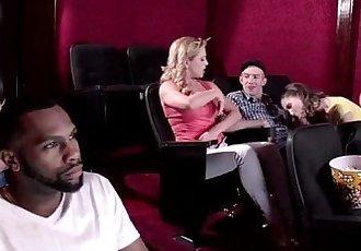 Cherie Deville and Molly Jane amazing threesome sex at a porno theatre