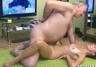 Horny granddad teases young babe