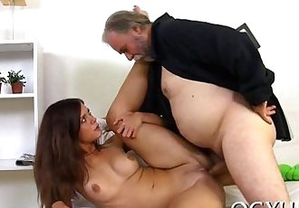 Young playgirl licked by an old boy