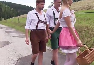 Pigtailed teen gets double fucked outdoorsHD