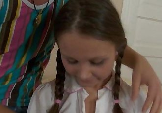Pigtailed teen Liza gets ass fucked and cummedHD