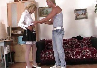Office blonde in white stockings takes hard fucking